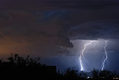A monsoon lightning storm shortly after sunset in Tucson Arizona