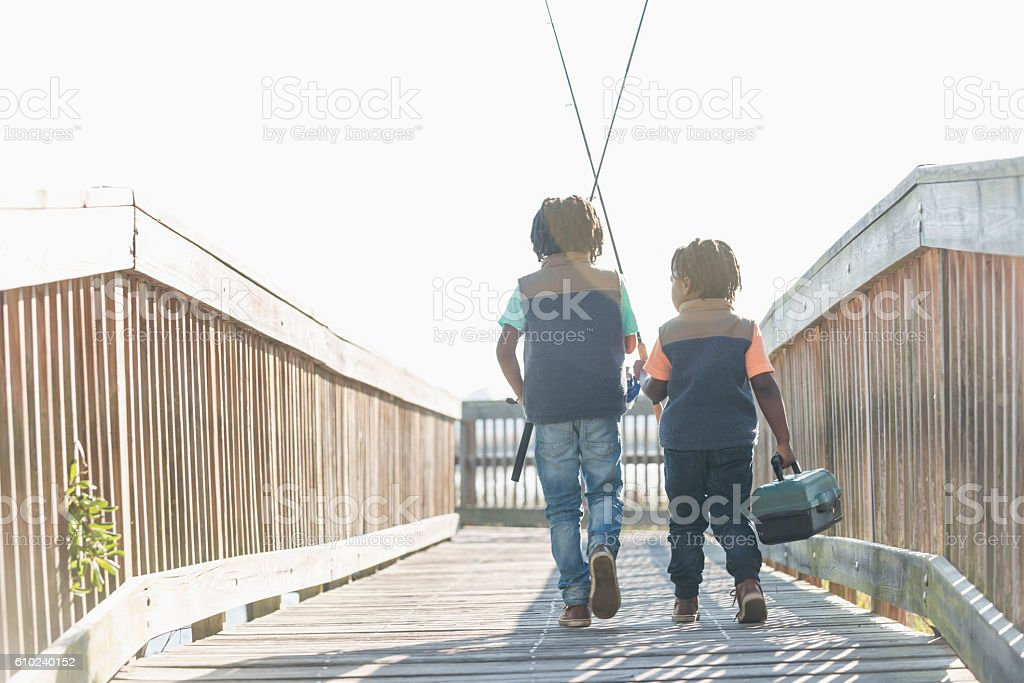 Two little African American boys going fishing stock photo