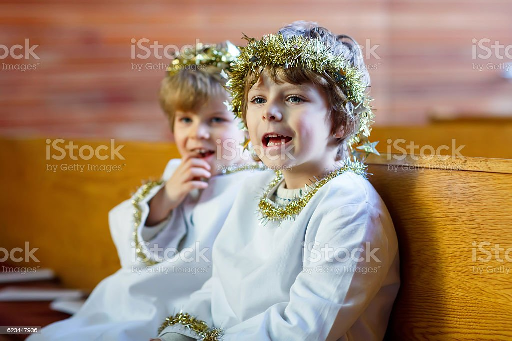 Angel Of Christmas.Two Little Boys Angels Of Christmas Story Eve In Church