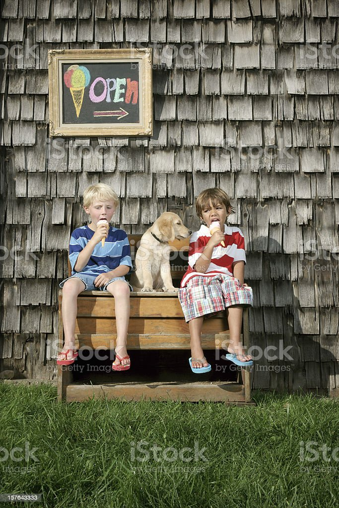 Two little boys with a puppy enjoying ice cream royalty-free stock photo