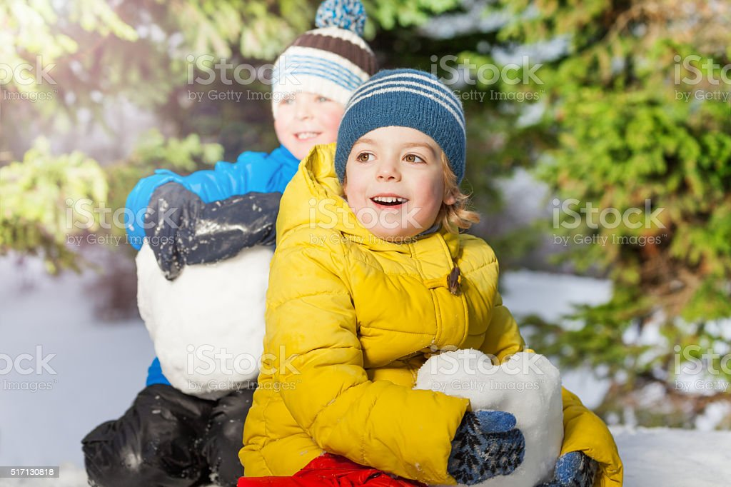 Two little boys with big snowballs in the forest stock photo