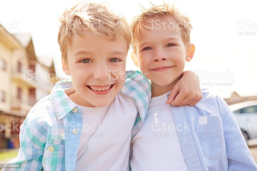 Two little bros stock photo