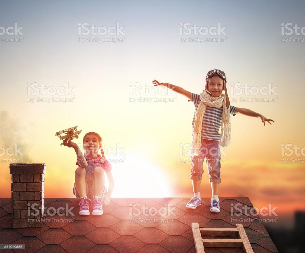 Two little children stock photo