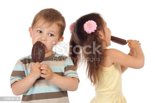 958492394 istock photo Two little children with ice cream 120928130