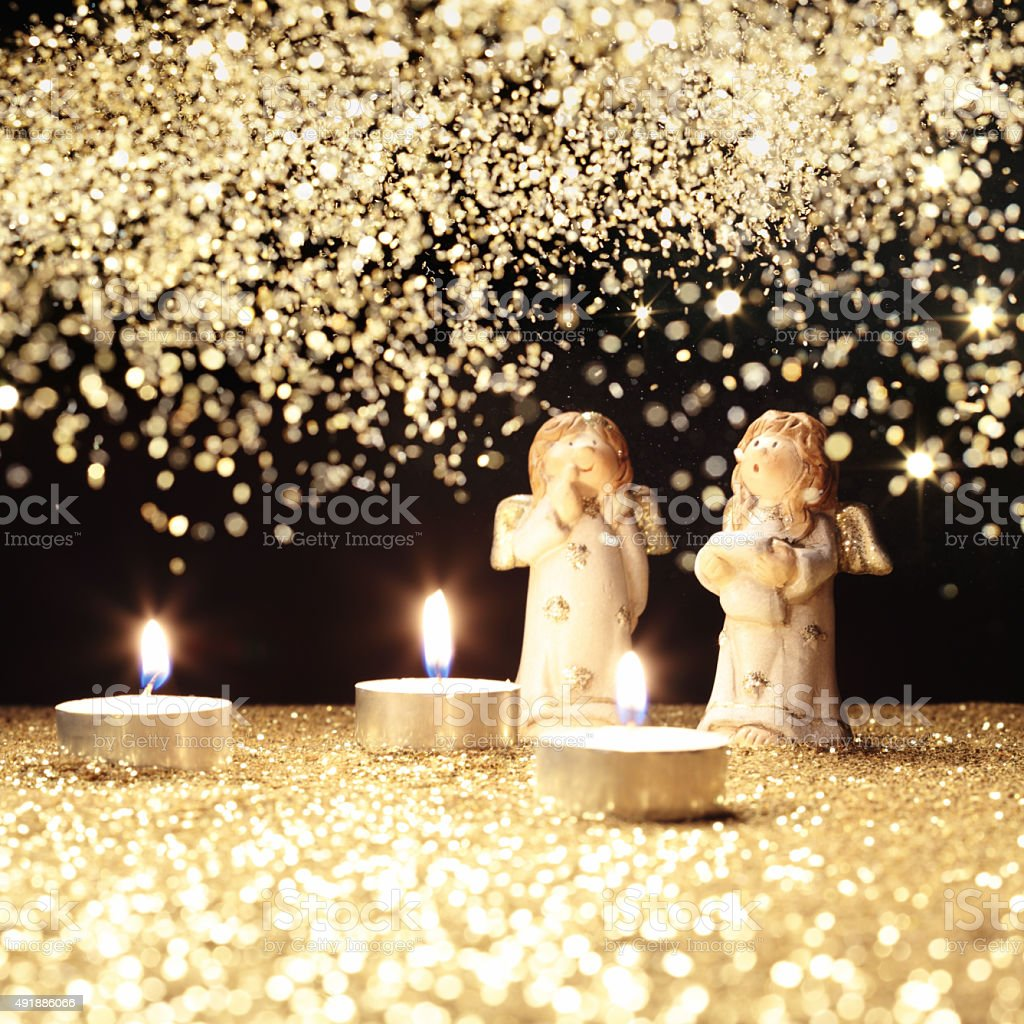 two little Christamas angels stock photo