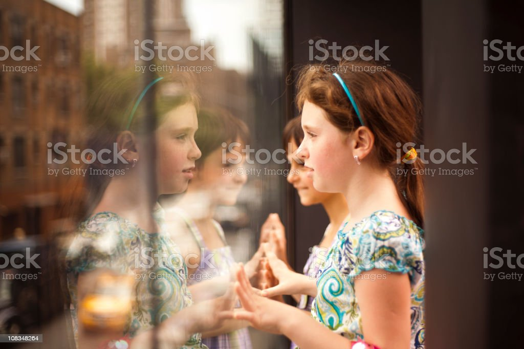 Two Little girls in the High Line park royalty-free stock photo