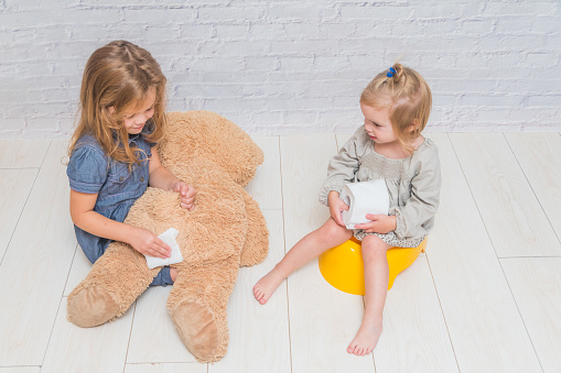 Two Little Girls Learning Potty Training With A Teddy Bear ...