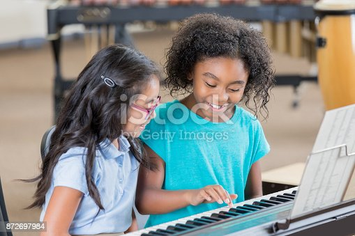 Two cheerful little girls sit at a piano keyboard and look down as one of the girls picks out a tune.