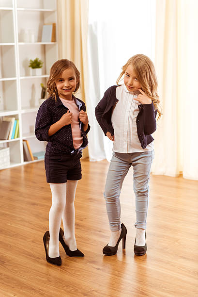 Royalty Free Cute Little Girl With Big High Heel Shoes -3191