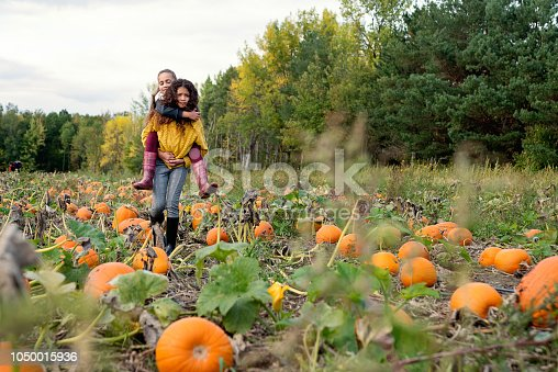 Two adorable mixed-race little girls of elementary age piggybacking in a pumpkin patch. Both are wearing warm clothes on a sunny autumn day. Horizontal full length outdoors shot with copy space.