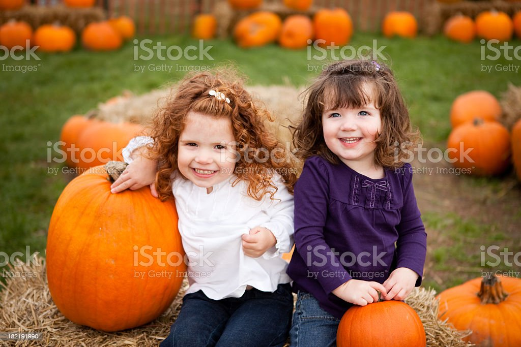 Two Little Girls Smiling in a Pumpkin Patch royalty-free stock photo