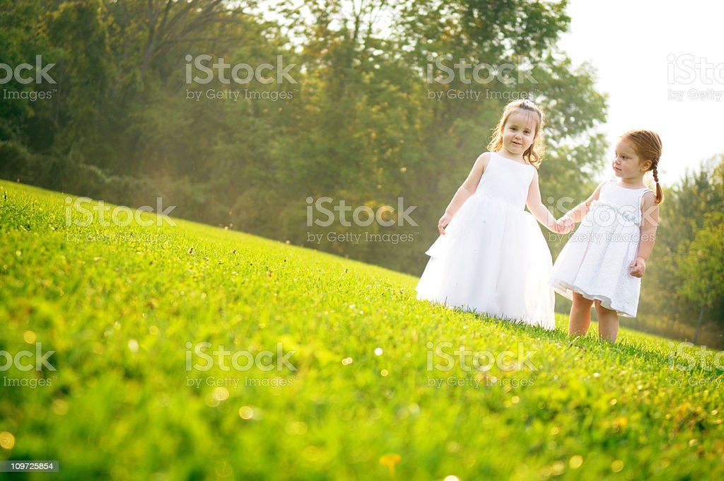 Two Little Girls Wearing Dresses and Holding Hands royalty-free stock photo
