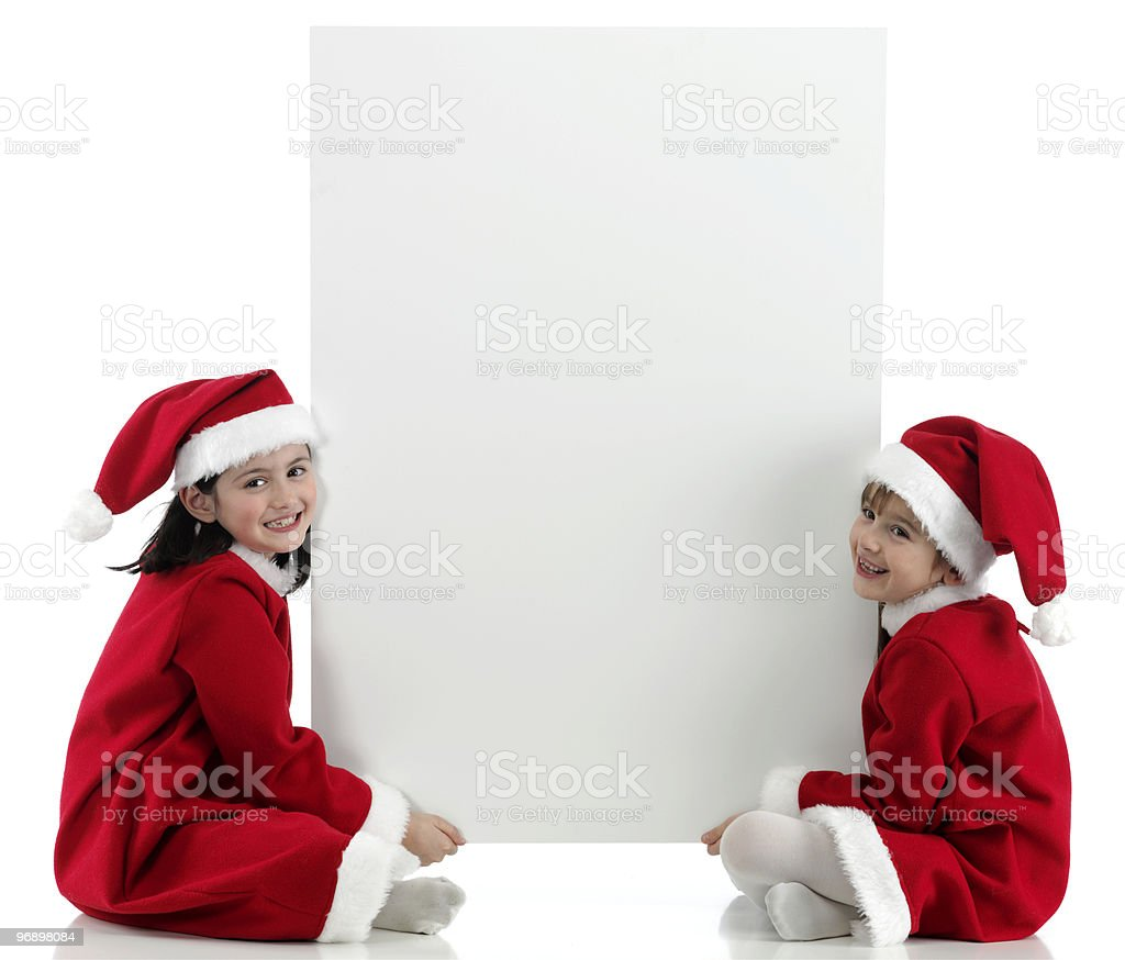 two little girls with santa clothes royalty-free stock photo