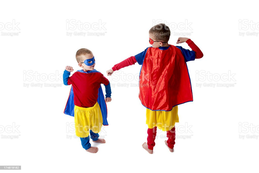 Two Little Heros Fighting royalty-free stock photo