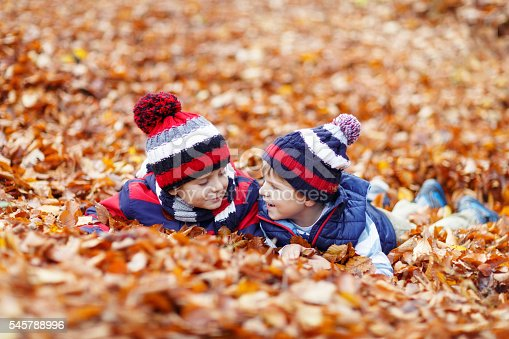 istock Two little kid boys lying in autumn leaves, in park. 545788996