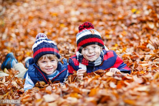 istock Two little kid boys lying in autumn leaves, in park. 545789236