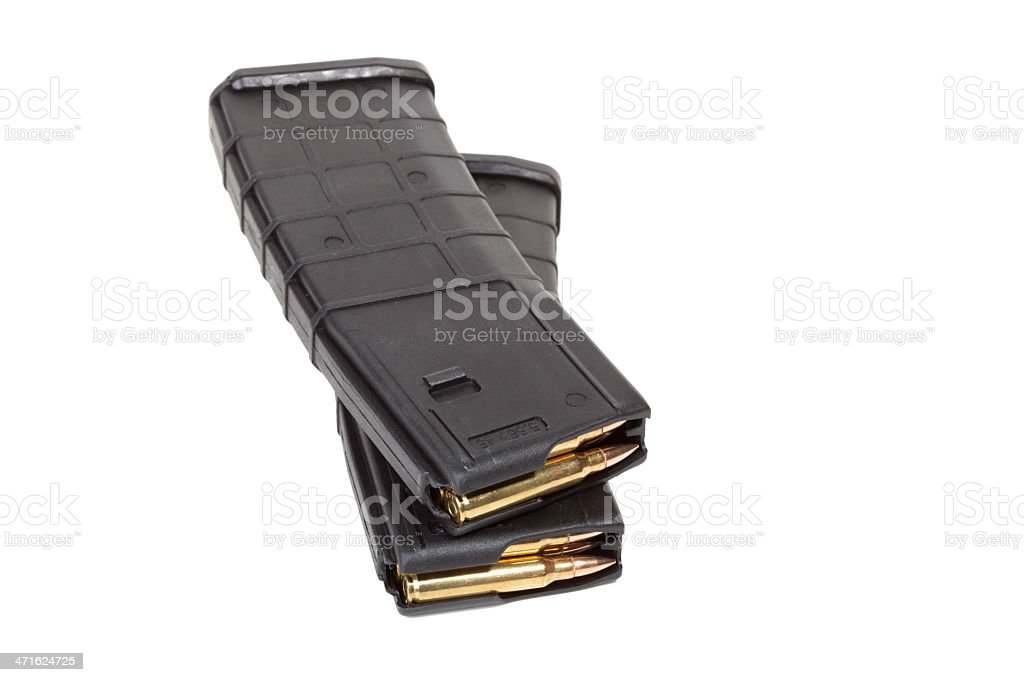 Two loaded rifle magazines royalty-free stock photo