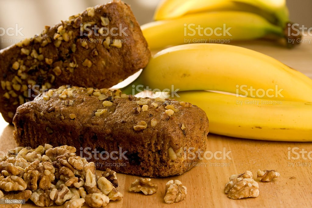 Two loads of banana walnut bread stock photo