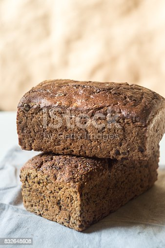 istock Two loaves of rye bread, food closeup 832648608