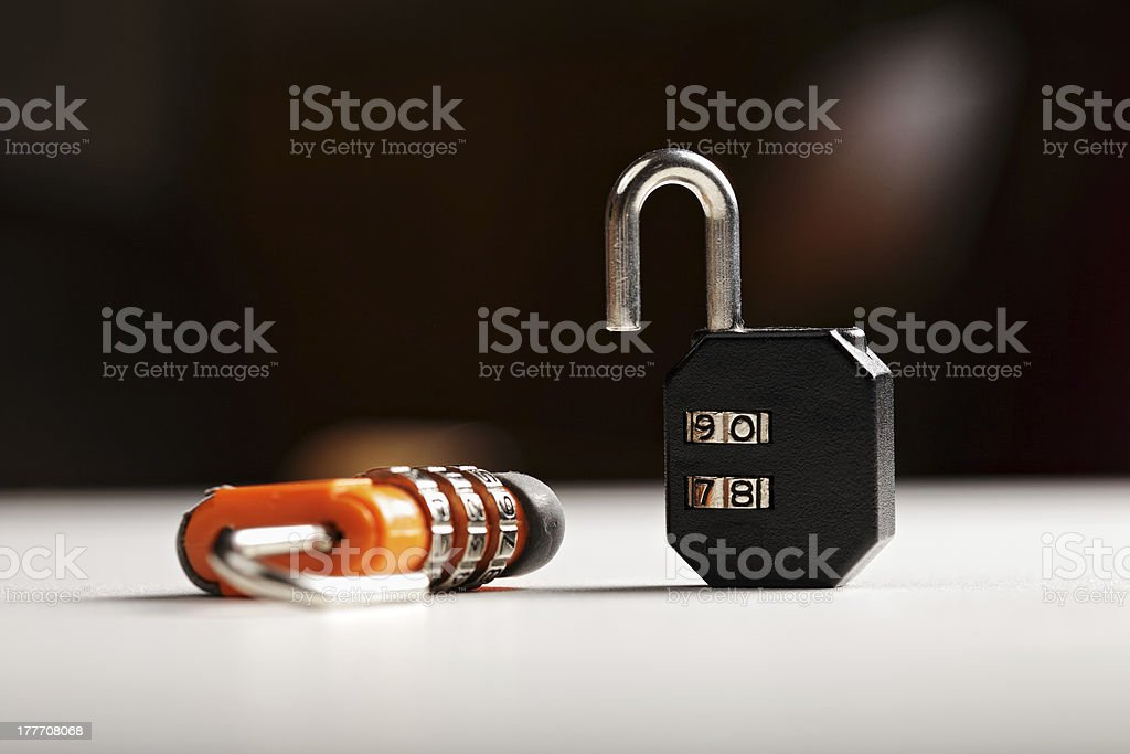 Two locks on white surface royalty-free stock photo