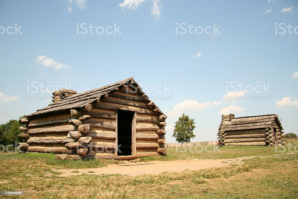 Two log cabins at Valley Forge National Park royalty-free stock photo