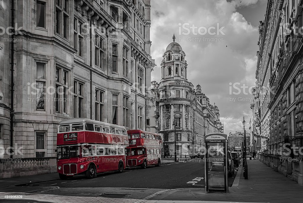 Two London Double Decker Bus stock photo