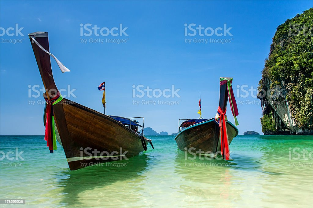 Two longtail boats in Andaman sea stock photo
