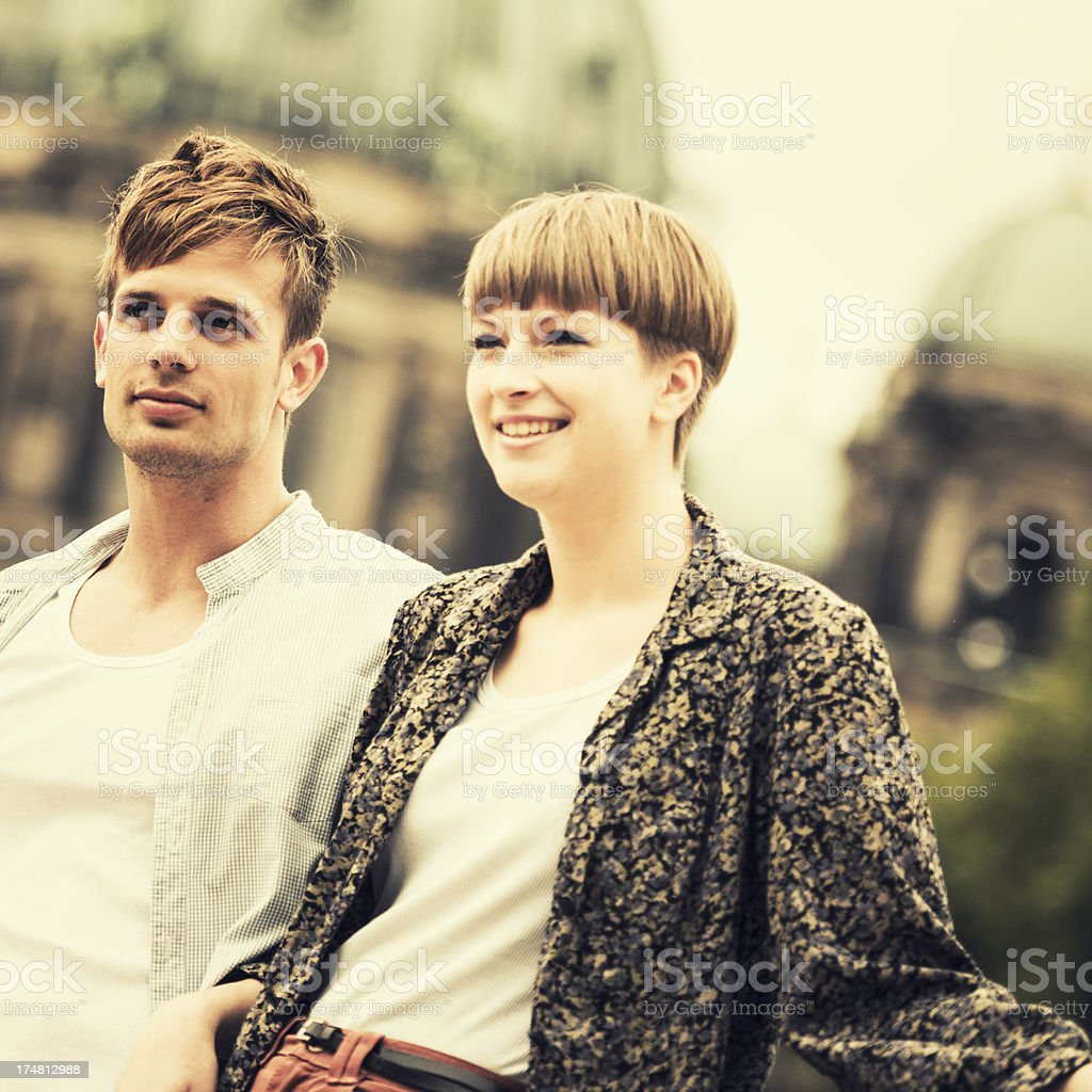 Two lovers togetherness outdoors royalty-free stock photo