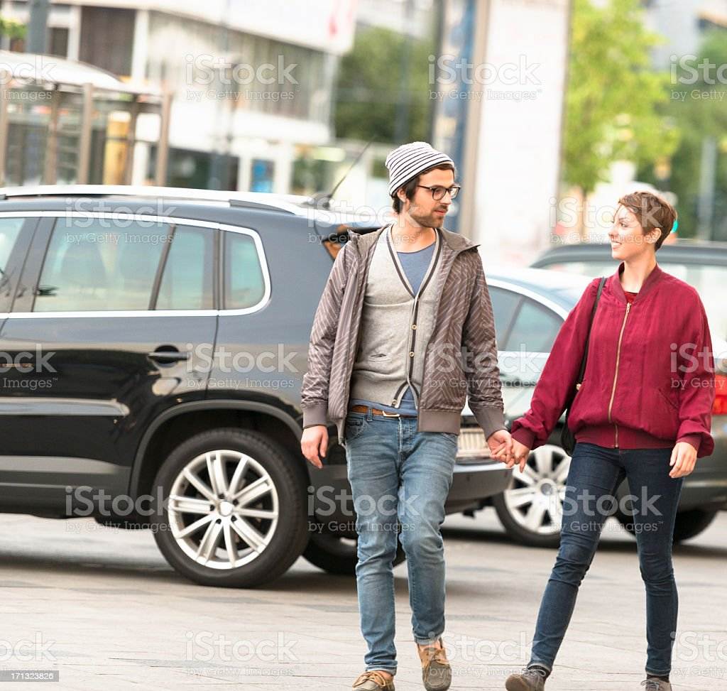 Two lovers tourist walking on Berlin royalty-free stock photo