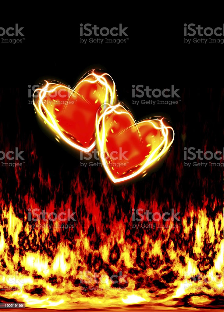 two loving hearts, burning in the flames of love royalty-free stock photo