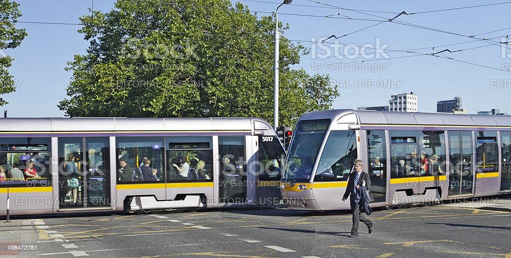 Two LUAS trams: Sean Heuston Bridge, Dublin royalty-free stock photo