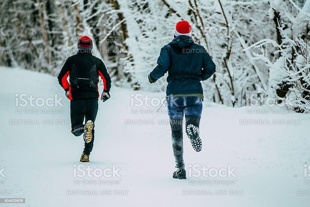 실행 중인 두 남성 선수 공원의 겨울 골목 royalty-free 스톡 사진
