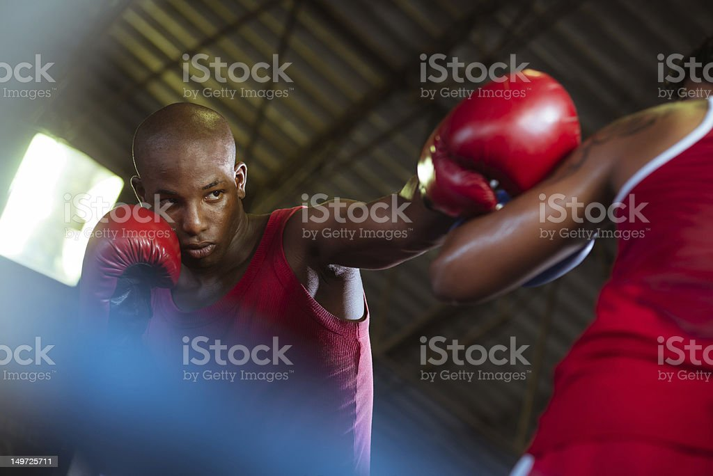 Two male athletes fight in boxing ring stock photo