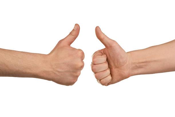 2 つの男性手を示す親指を立てる - 親指 ストックフォトと画像