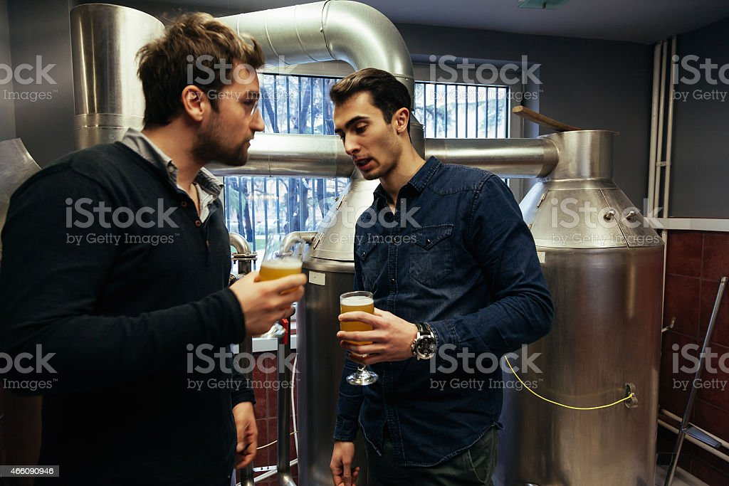 Two Male In Brewery stock photo