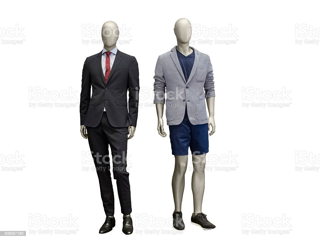 Two male mannequins dressed in suit. stock photo