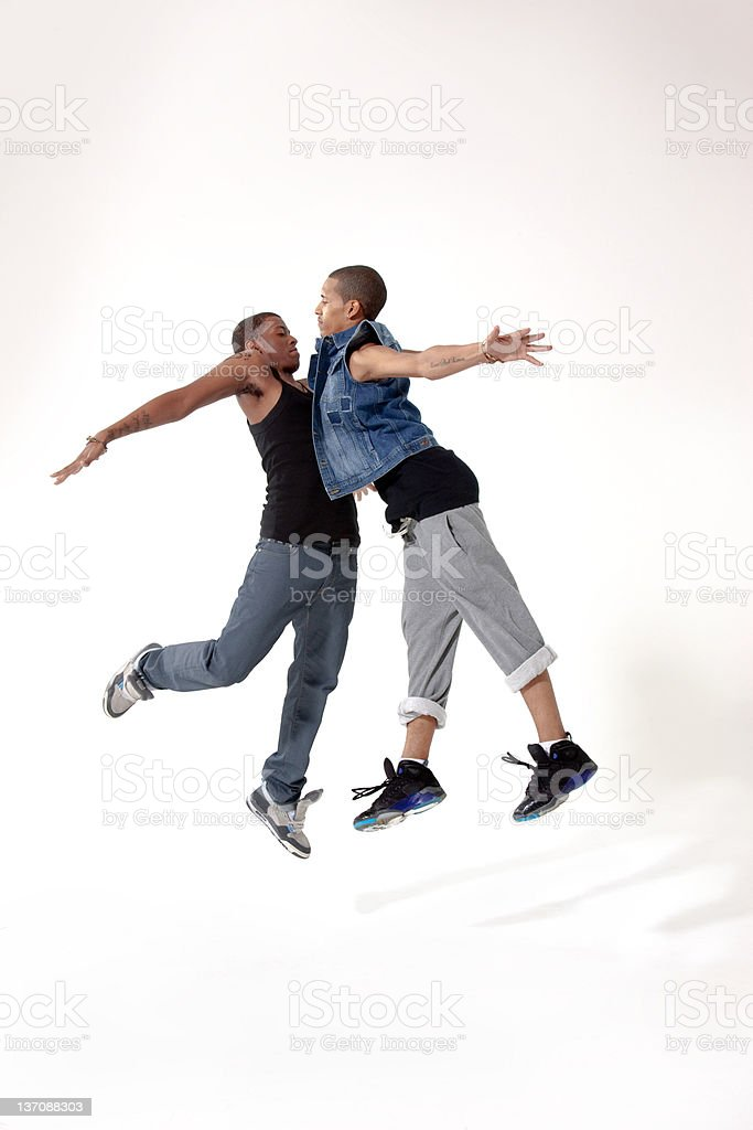 Two male rivals in mid air stock photo