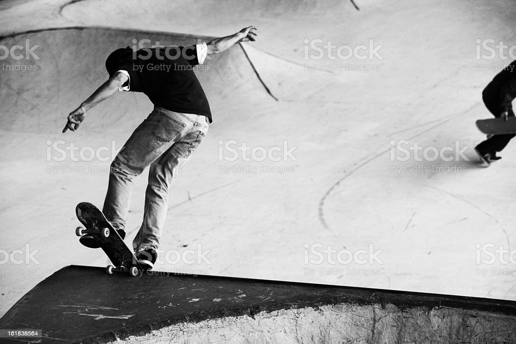 Two Male Skateboards at a Skate Park stock photo