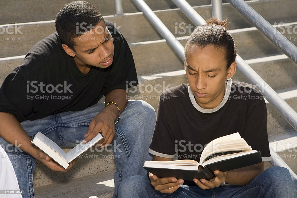 Two male teenagers studying outdoor royalty-free stock photo