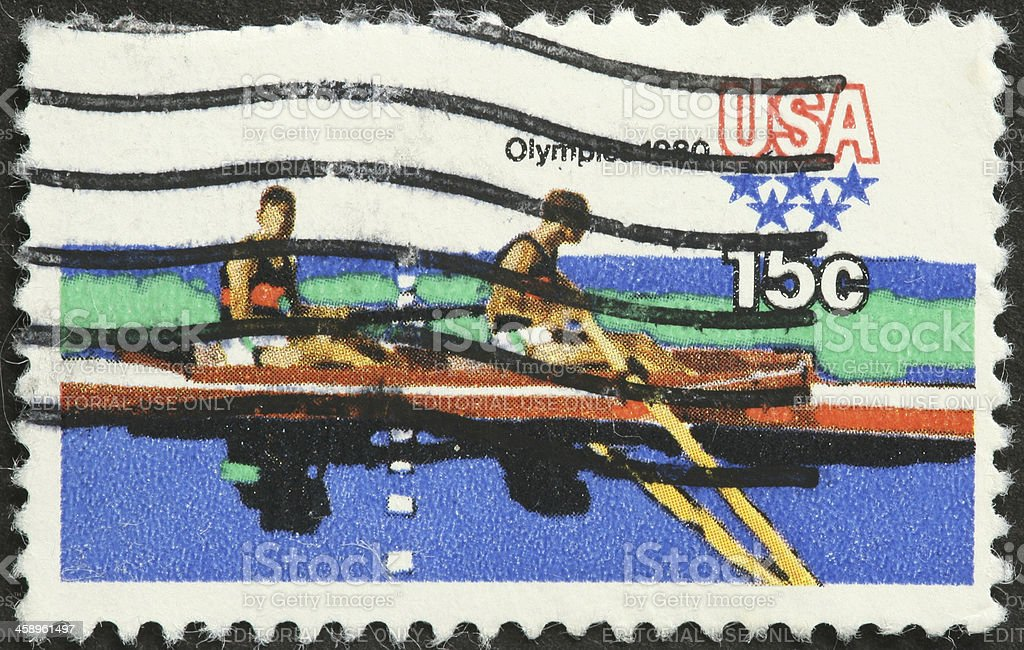 two man Olympic rowing, 1980 Los Angeles stock photo