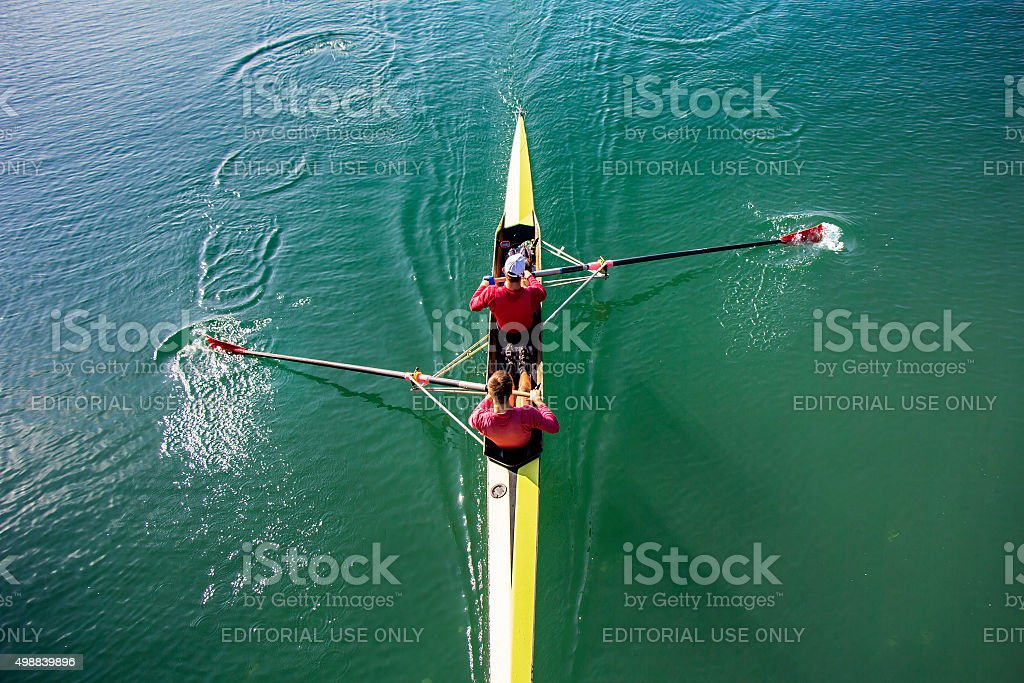 Two Man paddling stock photo