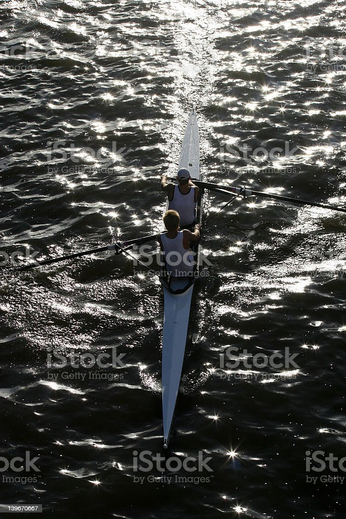 two man rowing team royalty-free stock photo
