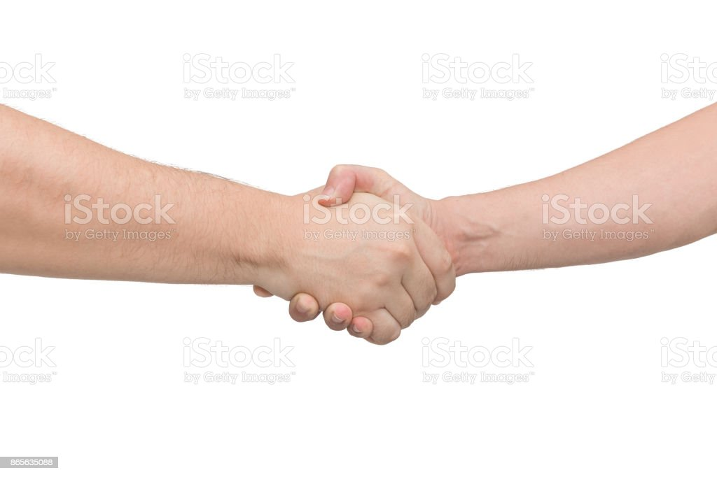 Two man shaking hands. Isolated white background. Front view stock photo