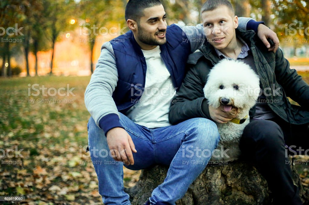Two man sitting in autumn park with dog stock photo