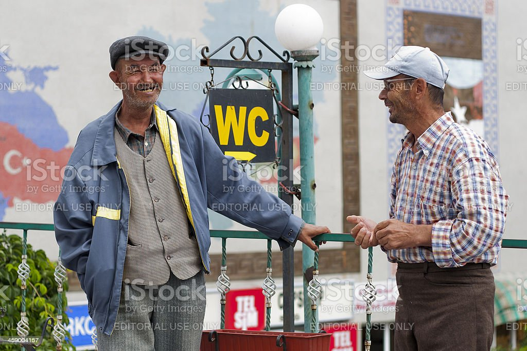 Two man talking at Beypazari, Ankara City. royalty-free stock photo