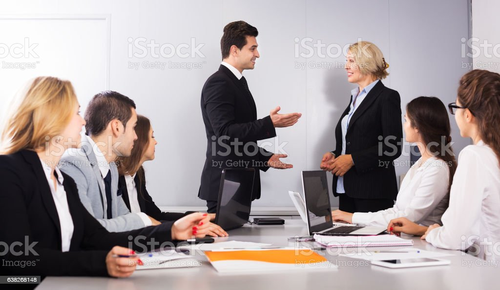 Two managers handshaking stock photo
