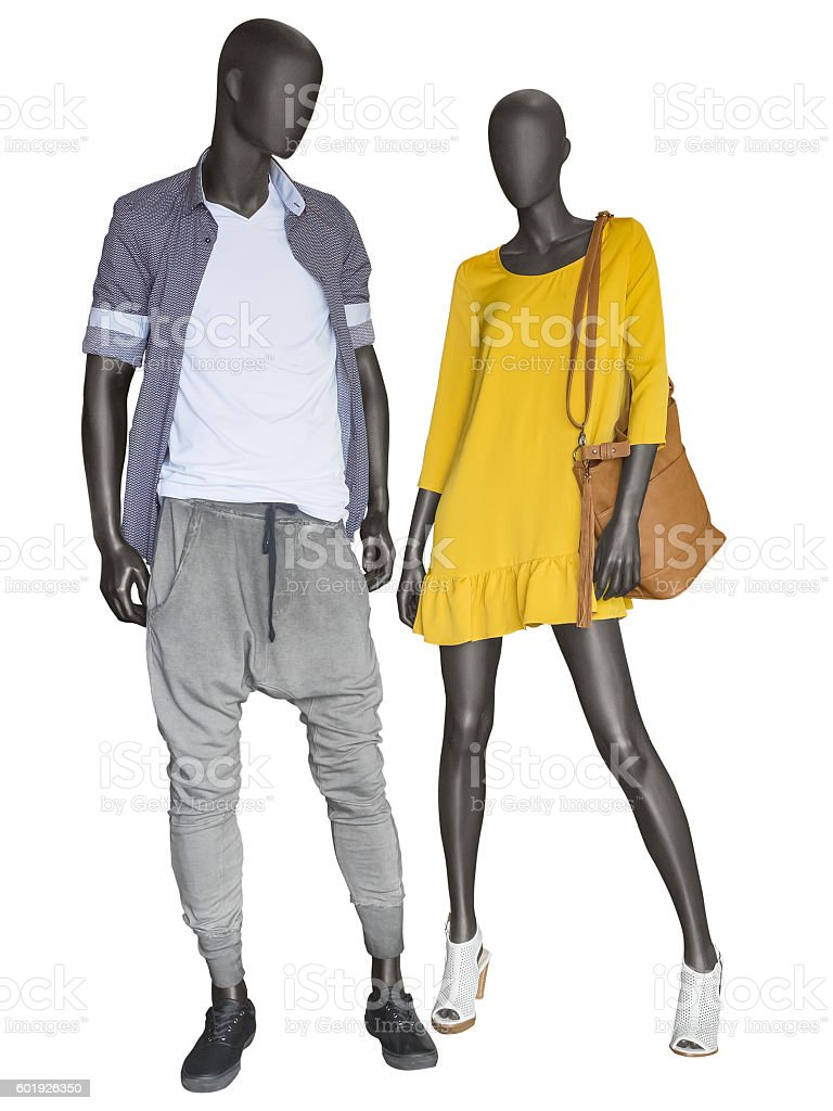 Two mannequins, male and female, dressed in casual clothes. stock photo