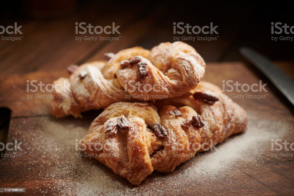 Two Maple and Pecan Danish Pastries. stock photo
