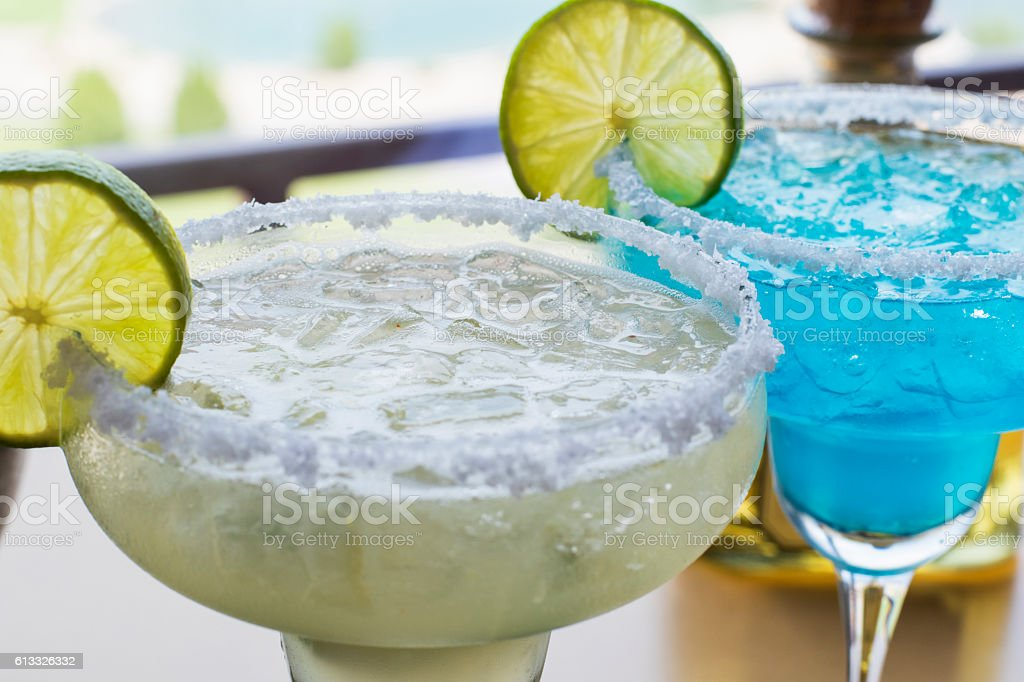 Two Margaritas close up stock photo