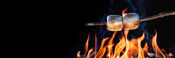 twee marshmallows - geroosterd stockfoto's en -beelden